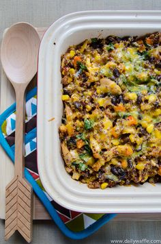 Chicken Black Bean Quinoa Bake | The Daily Waffle - I made this without chicken. Spooned the bean/sweet potato mixture onto a flour tortilla with some shredded cheese. Put them into a casserole pan, poured some enchilada sauce on to the tortillas and baked on 375* for 30 minutes.