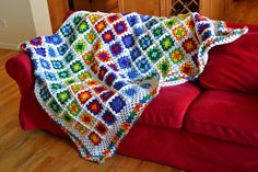 Yay! I am FINALLY finished with this blanket!  Rainbow Brite Blanket | Flickr