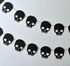 Halloween Garland/ Black Skull Garland by ScoutAndAcadia on Etsy, $ 12.00