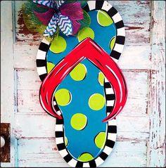 In Stock flip flop door hanger Flip Flop Sign by BluePickleDesigns, $45.00