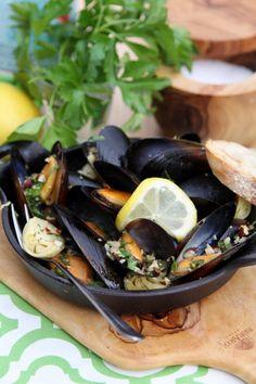Steamed Mussels & Artichokes with Hazelnut Gremolata