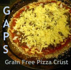 Grain Free Pizza Crust made using almond flour, eggs, coconut oil and salt.