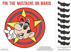 printable pin the mustache on mario