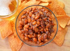 Baked Beans with Bacon and Beer dinner, real baked beans, baked beans with bacon beer, bake bean, boozi bake, side, food, recip, navi bean