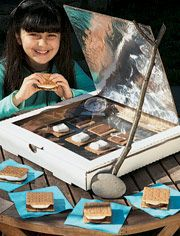 Make a solar oven with a recycled pizza box lined with aluminum foil
