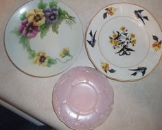 vintage cottage   look  plates  set of  3 by pgriff on Etsy, $12.00