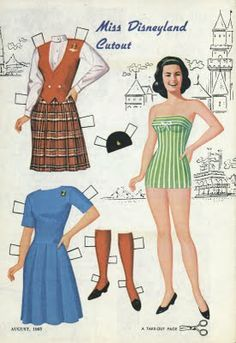 Miss Disneyland cutout paper doll, 1965. The outfit with the plaid skirt and red vest is Disneyland tour guide attire.
