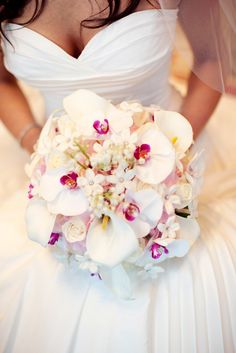 Stunning bridal bouquet of phalenopsis orchids, stephanotis, and spray roses. Love the placement of the orchids and their hot pink lips! Bridal Bouquets, Bride Bouquet Orchid Pink, Wedding Bouquets, The Dress, Pink Lips, White Bouquets, Bridal Flowers, Stunning Dresses, Orchid Bouquet