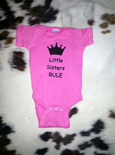 Litte Sisters Rule baby onesie cute funny baby bodysuit girl funny saying gift idea customize it