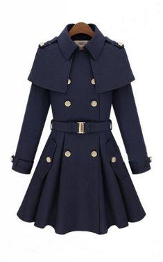 Navy Double Breasted Cape Collar Skirt Hem Woolen Coat