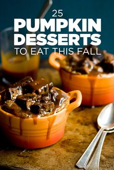 25 Pumpkin Desserts To Eat This Fall (with recipes!). Including: Pumpkin Cheesecake Pillow Popovers, Turtle Pumpkin Ice Cream Cake, Pumpkin Cookie Cups, Multi-grain Pumpkin Donuts with Spiced Sugar, Pumpkin Pie Chia Pudding, Vegan Pumpkin Cinnamon Rolls, Dark Chocolate-Espresso Pumpkin Bread Pudding with Salted Caramel Sauce (shown), AND MORE. Yes please!