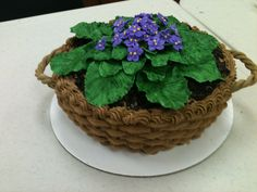 This is an African Violet cake.  I used the basket-weave technique for the cake. The dirt is made of crushed Oreos and the flowers and leaves are made from gum paste and royal icing.