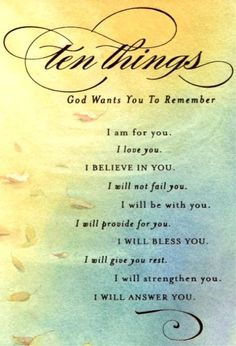 Ten Things God Wants You To Remember