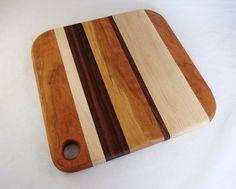Wooden Cutting Board Walnut Cherry And Maple Mixed by foodiebords, $35.00