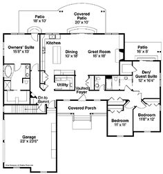 Floor Plans AFLFPW00691 - 1 Story Ranch Home with 4 Bedrooms, 2 Bathrooms and 2,400 total Square Feet