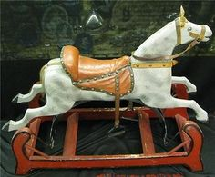 "30"" Antique Wooden Rocking Horse on Wood Platform Rocker Original Red Paint !!"