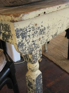 distressed benches - navy under, cream over