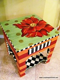 Hand painted flower table #painted #flower