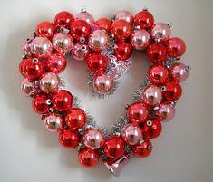 Valentine's Day Wreath valentine day, diy valentine's day, ornament wreath, glass ornaments, christmas ornaments, garland, wreaths, valentine wreath, heart wreath