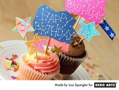 Constellation birthday cupcake toppers by Lisa Spangler for Hero Arts