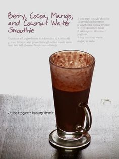 Berry, Cocoa, Mango, and Coconut Water Smoothie. For more, check out plateful's fb page.