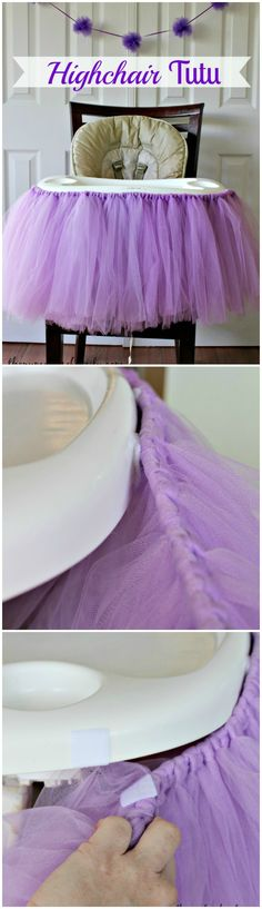 No Sew Highchair Tutu perfect for 1st Birthday parties! #firstbirthday