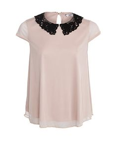 Shell Pink (Pink) Shell Pink Contrast Crochet Collar Cap Sleeve Top | 271964172 | New Look