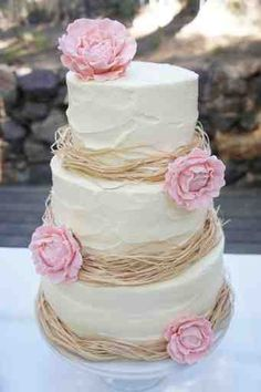 Rustic with raffia (or could incorporate the gold with a different material) and could have burlap flowers