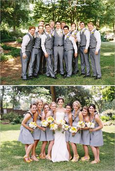 wedding party in gray, really loving this look on the guys & girls.