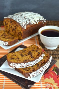 Pumpkin Chocolate Chip Bread - pumpkin bread with chocolate chips and chocolate glaze is definitely the way to go  http://www.insidebrucrewl...