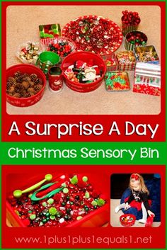 A Surprise a Day Christmas Sensory Bin from @{1plus1plus1} Carisa
