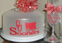 Oklahoma University Sooners Cake Carrier & Flashing Wine Glass