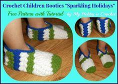sparkl holiday, free pattern, children booti, crochet slippers, crochet children