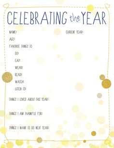 Celebrating the Year:  I am going to do this for my kids at the end of each year. It will be great for them to look back upon :)