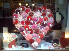 store display, heart, paper gifts, window displays, boxes, yarn shop window display, yarn displays, coffee filters, store window