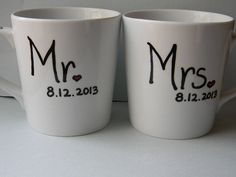 mr and mrs husband wife wedding date matching coffee mugs wedding gift  spouse gift lover coffee tea mug gift on Etsy, $21.50