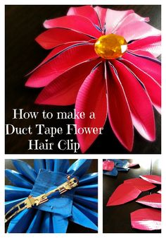 Duct tape is always fun for crafts- now you can make simple duct tape flower hair clips. Step by step pics w instructions. #ducttape #ducktape