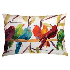 Flocked Together Indoor/Outdoor Lumbar Pillow