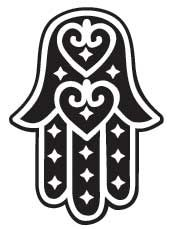 The Hamsa or Hand of Fatima, was named after the daughter of Mohammed, but the symbol is used as a protective amulate by Muslimm, Christians, Egyptians, North Africans, and Jews. Hamsa, or Hamesh, refers to the five digits. The Two thumbs are often said to represent Osiris and Isis, and the fingers representing the offspring of that union.