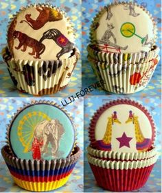 circus party cupcake liners