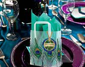 personalized PEACOCK wedding frosted plastic bags totes favors - 8 inches by 4 inches by 10 inches