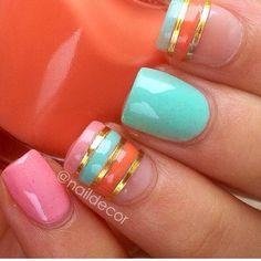 Pink, Teal, & Orange Nails