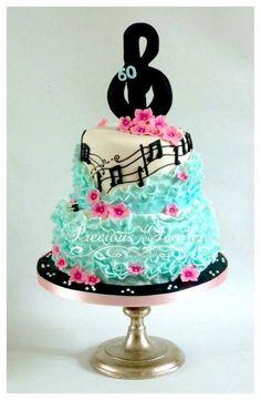 music and ruffles cake