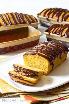 Heavenly Pumpkin Pound Cake with Chocolate Ganache | ASpicyPerspective.com #pumpkin #fall #poundcake #chocolate #ediblegifts