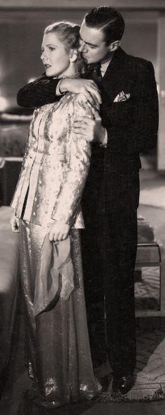 "Jean Arthur wearing harem-inspired pajama (movie ""History Is Made at Night"" 1937)"