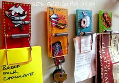 For Men's wkend:  Decorate with fishing lures, nuts, bolts, etc.  Mousetrap fridge magnets (hold receipts, pictures, good grades and lists)