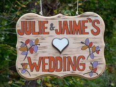cute wedding sign - http://ncweddingministerblog.blogspot.com/2013/11/love-triumphs-as-julie-and-jaime-have.html