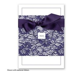 Embrace of Lace Wedding Invitation in Lapis by David's Bridal #weddings #davidsbridal #weddinginvitation #purpleweddings