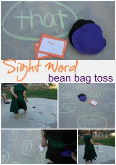 Sight word bean bag toss! Could do letters/numbers too for younger one's.