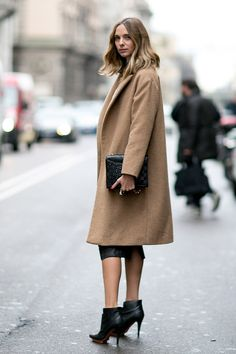 Rocking a camel coat and leather while in Milan.#MFWM